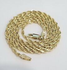 "Men Ladies 100%  Real 10k Yellow Gold Necklace Solid Rope Chain 2mm 22"" inch"