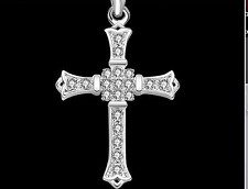 Womens 925 Sterling Silver Cubic Zirconia Cross Pendant Link Chain Necklace #N62