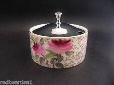 Midwinter Vintage China Chrome Lidded Chintz Roses Sugar Bowl England c1940s