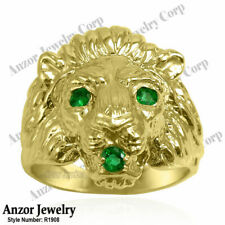 Heavy Men's Ring 18k Gold Genuine Colombia Fine Quality Emerald Lion Ring R1908.