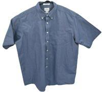 LL Bean Mens Short Sleeve Button Down Shirt Sz 18 Blue Wrinkle Free Traditional