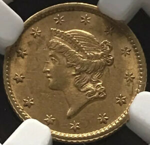 1853 Liberty Head Type 1 one dollar gold coin NGC au 58