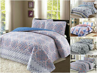 100% Cotton Reversible Quilt Set with Shams- 3Pcs, Full/Queen / King- All season