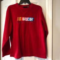 Nascar Racing Mens Sz L Red Nascar Fleece Sweatshirt shirt Jerry Leigh 100% Poly