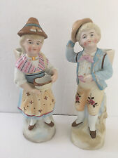Pair Antique? German Porcelain Bisque Boy / Girl Fruit Picking Basket Figurines
