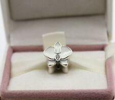 AUTHENTIC PANDORA Orchid Charm, White Enamel, 792074EN12  #1099