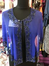 Poncho/cape Blue Beaded