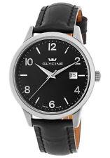 NEW Glycine Black Dial Genuine Leather Dress Watch 3925-19-LBK9