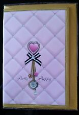 "E14) Jolie Carte ""Little Diva"" Pretty Preppy + enveloppe couleur doré"