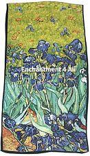"Oblong Handmade 100% Pure Silk Art Scarf Shawl Wrap w/ Van Gogh's ""Irises"" 1889"