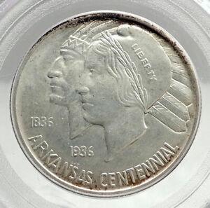 1938 ARKANSAS 100th Commemorative Silver Half Dollar US Coin PCGS MS 65 i76423