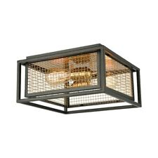 ELK Lighting Jarvis 2-Light Flush, Black & Brass/Brass - 46374-2