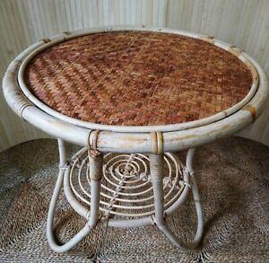 Fab Vintage Retro Franco Albini Italian Style Bamboo Circular Coffee Side Table