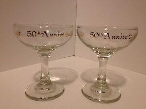 2 50th GOLDEN WEDDING ANNIVERSARY GOLD TRIM CHAMPAGNE TOASTING GLASSES FLUTES