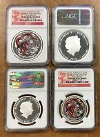 2012 P Australia DRAGON  2 coin set Colorized 50c & $1  NGC PF 69 Lunar silver