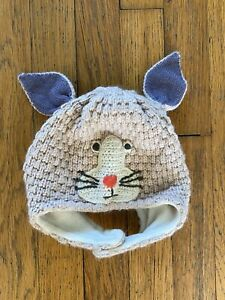 Baby Girl's MINI BODEN Pale Pink Bunny Rabbit Winter Hat Size 12-24 Months EUC