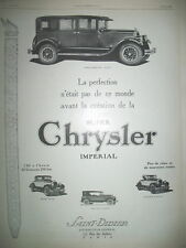 PUBLICITE DE PRESSE CHRYSLER IMPERIALE AUTOMOBILE LA PERFECTION FRENCH AD 1926