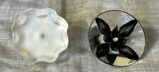 New listing Vintage Lucite Buttons Reverse Carved Black flower Button 127-3