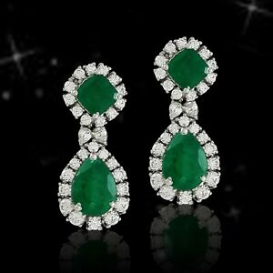 Green Victorian Style Green Pear Drop Halo Earrings Solid 925 Sterling Silver CZ
