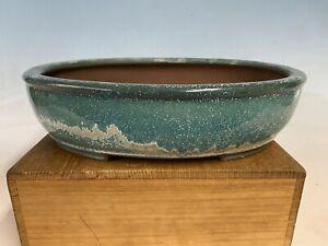 """Stunning Blue Glazed Tokoname Bonsai Tree Pot By Yamaaki 12 1/4"""""""