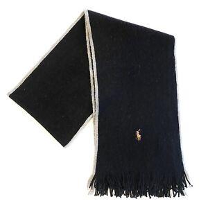 POLO RALPH LAUREN Mens Pony Merino Wool Knit Fringe Scarf Black Gray (MSRP $65)