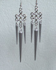 Long silver Spike Filigree Earrings - Emo Goth Punk Rock Chick