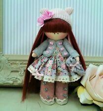Rag doll handmade in the UK Tilda doll Liberty print Pearl 6 inch tall