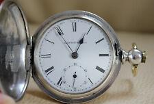 Seltene XXL Taschenuhr mit Schlüssel Elgin Nat´l. Watch Co. Coin Silver 155 g.