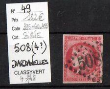 BORDEAUX 80c rose (n°49) : oblitération GC 508(4?) DARDANELLES