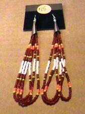 Native American Beaded Earrings Loops Powwow Regalia Hand Beaded #04
