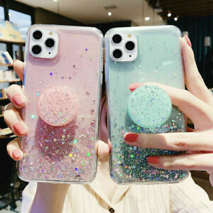Bling Glitter Soft Case for iPhone 11 Pro 11 X With Pop Up Holder Socket Relief