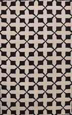 IVORY/ BLACK Trellis Modern Oriental Area Rug Hand-tufted Wool Foyer Carpet 5x8