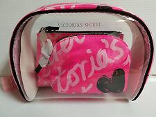 Victoria's Secret Logo Clear Hot Pink Heart Cosmetic Makeup Bag Trio Set