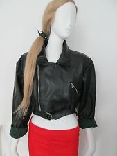 "BOY LONDON - BLACK CROPPED ""FAUX LEATHER"" UNLINED BIKER JACKET SIZE 10"