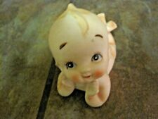 PIANO BABY ~ KEWPIE ~ VINTAGE  BISQUE PORCELAIN ~ PROPPED UP ON ELBOWS ~ EUC