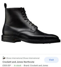 Crockett &Jones Black Boots NORTHCOTE Uk 8,5; Us 9,5;EU 42,5 CITY SOLE
