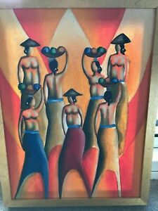 Original Painting Group of Asian Ladies bought in Asia framed in Australia