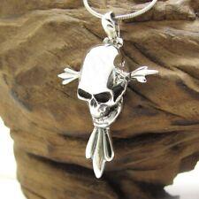 .925 Silver Pendant Unique Gothic Skull Cross