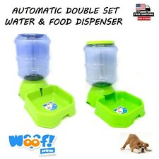 Automatic Food & Water Dispenser Double Set Square Shape Green Color Woof! Prime