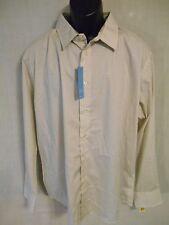 Van Heusen 100% Cotton L Slim Fit Crm Egret Geometric Point Shirt SR$54 NEW