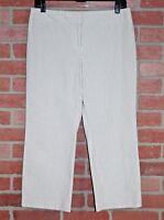 Ann Taylor Womens Gray & White Striped Seersucker Capri Pants Petite Size 8