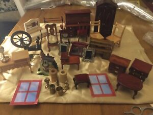 Job lot dolls house 1/12 scale furniture 2 writing desk chairs and a lot more