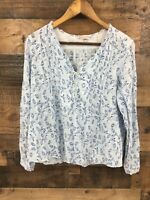 Rebecca Taylor Women's Blue Floral Bird Boho Tab Sleeve Peasant Top Size 8