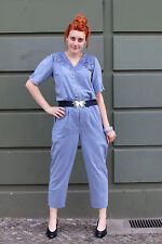 Damen Overalls Jumpsuit blau blue 80er True VINTAGE 80s Strick Häckelkragen