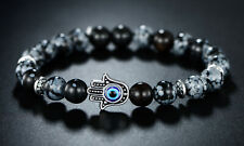 Sevil Black Beaded One- Size Bracelet With Evil Eye- Hamsa Hand Charm