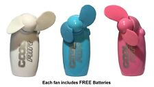 Cool Air Mini Portable Pocket Fan Hand Held Travel Holiday Blower Battery Incl