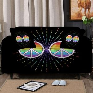Peace Glasses Hippie Sofa Chair Couch Cushion Stretch Cover Slipcover Set Decor