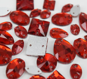 Mixed Shapes Sizes Red red Sew On Rhinestones Flatback Crystal Glass 2 Holes