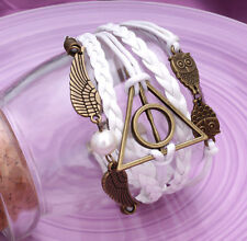 Handmade Infinity Vintage White Friendship DeathlyHallow Charm Leather Bracelet