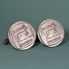 South Africa Springbok Coin Cufflinks,  1 Rand Antelope Silver